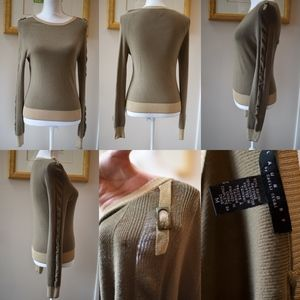 Military Style Scoop Neck Sweater w/ Hardware